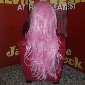 Halloween Anime Cosplay Neon Pink Long Hair Wig